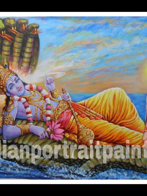 100% original canvas paintings and finest artist – Lord vishnu and laxmi ji hand painted