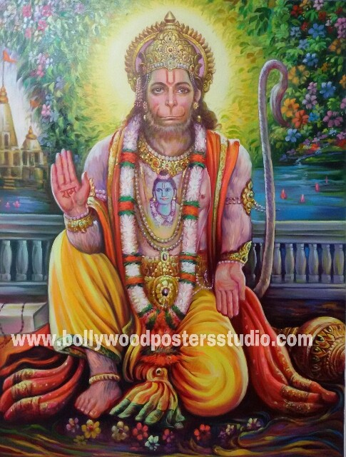 Portrait on oil canvas hand painted artist - Mahabali Hanuman