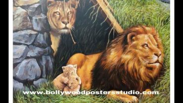 Oil canvas painting art – 'save wild life' – hand painted animals