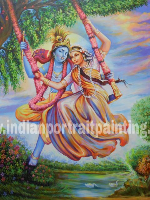 Best canvas art on oil canvas – Radha Kishan hand painted reproduction