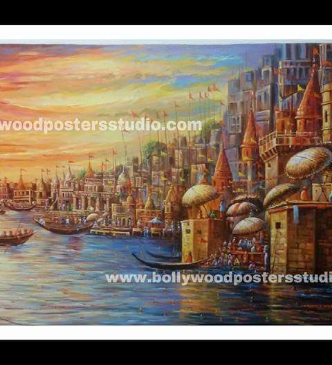 Varanasi ghat paintings on canvas – Indian Reproduction