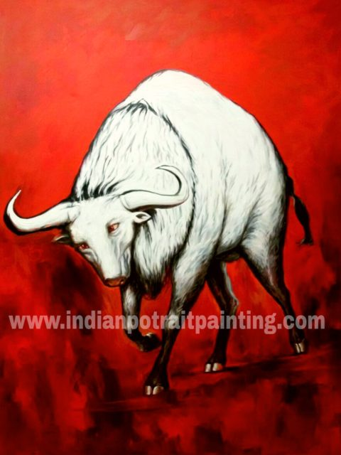 Art paintings on canvas from photo – running bull
