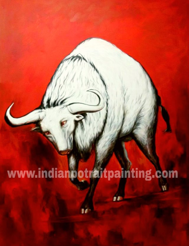 Art paintings on canvas from photo - running bull