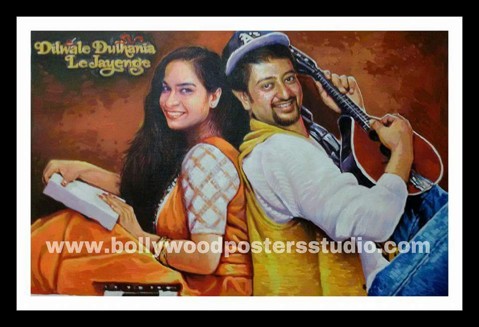 DDLJ hand painted custom bollywood poster