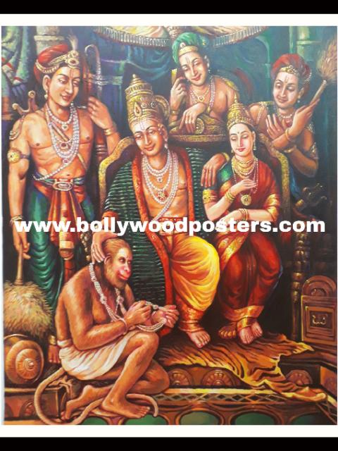 Ram seeta hanuman hand painted reproduction on oil canvas
