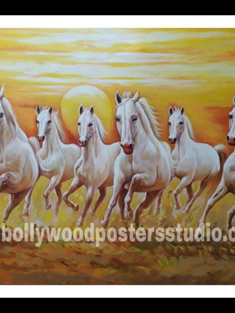 7 horse vastu oil canvas paintings – good luck