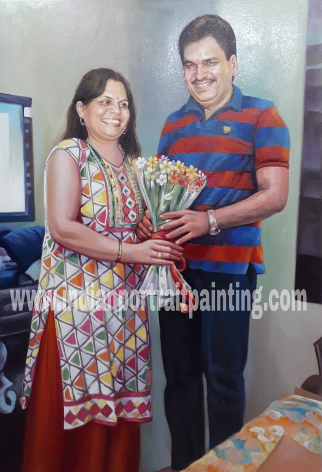 Portrait paintings on canvas for parents