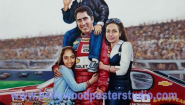 Family customised poster painting on oil canvas artist
