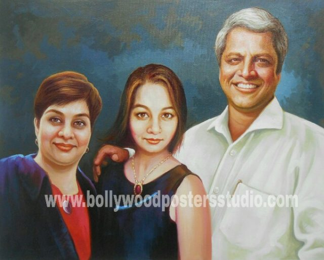 Realistic hand painted family portrait on oil canvas online india