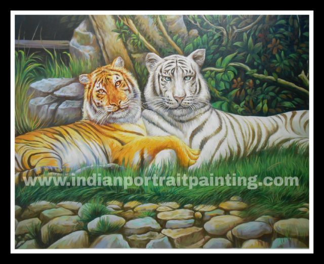 Tiger oil painting wall art on canvas