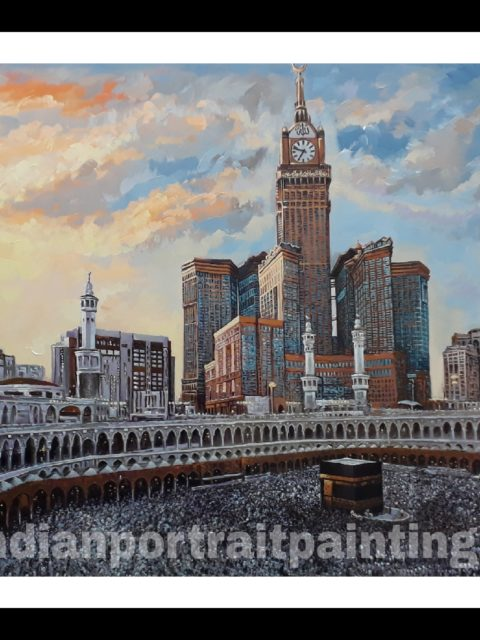 Hand painted Mecca  painting on oil canvas