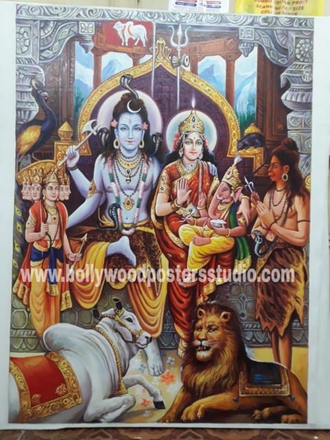 Original Lord Shiva Parvati darbar painting on oil canvas