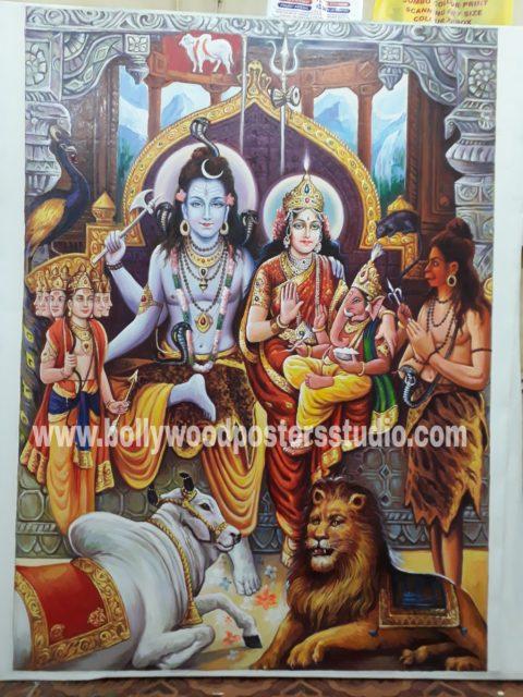 Original Lord Shiva Parvati darbar painting on oil canvas