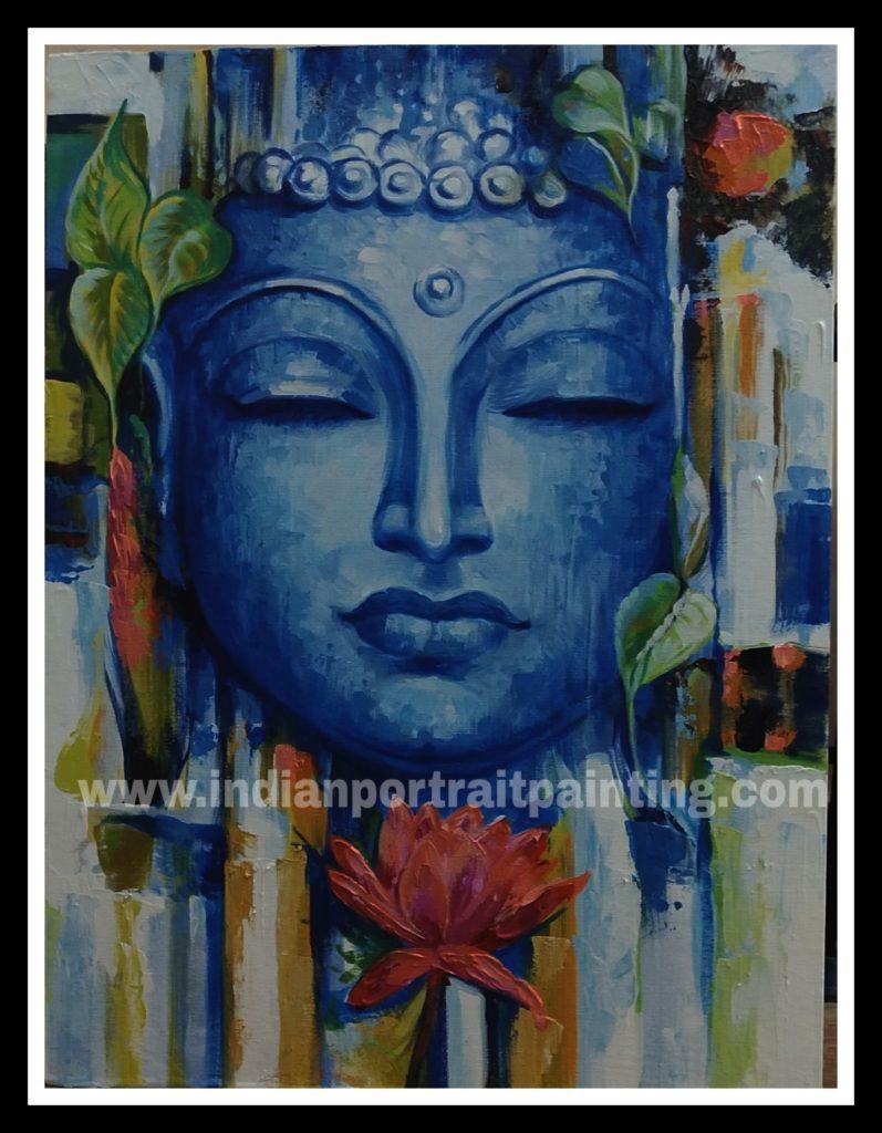 Buddha canvas oil paintings abstract art   Custom Bollywood ...