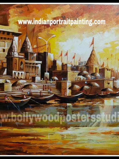 Hand painted oil painting – Varanasi ghat