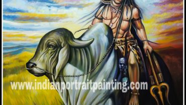 Hand painted oil painting lord shiva on nandi