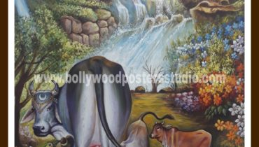 Hand painted oil paintings – krishna & gau mata
