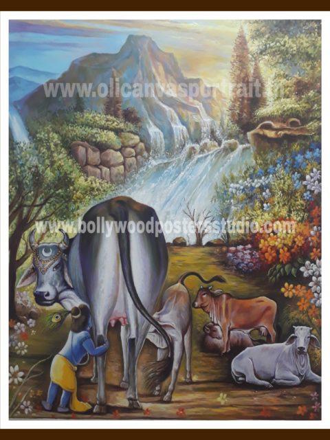 Hand painted oil paintings – krishna & gau mata