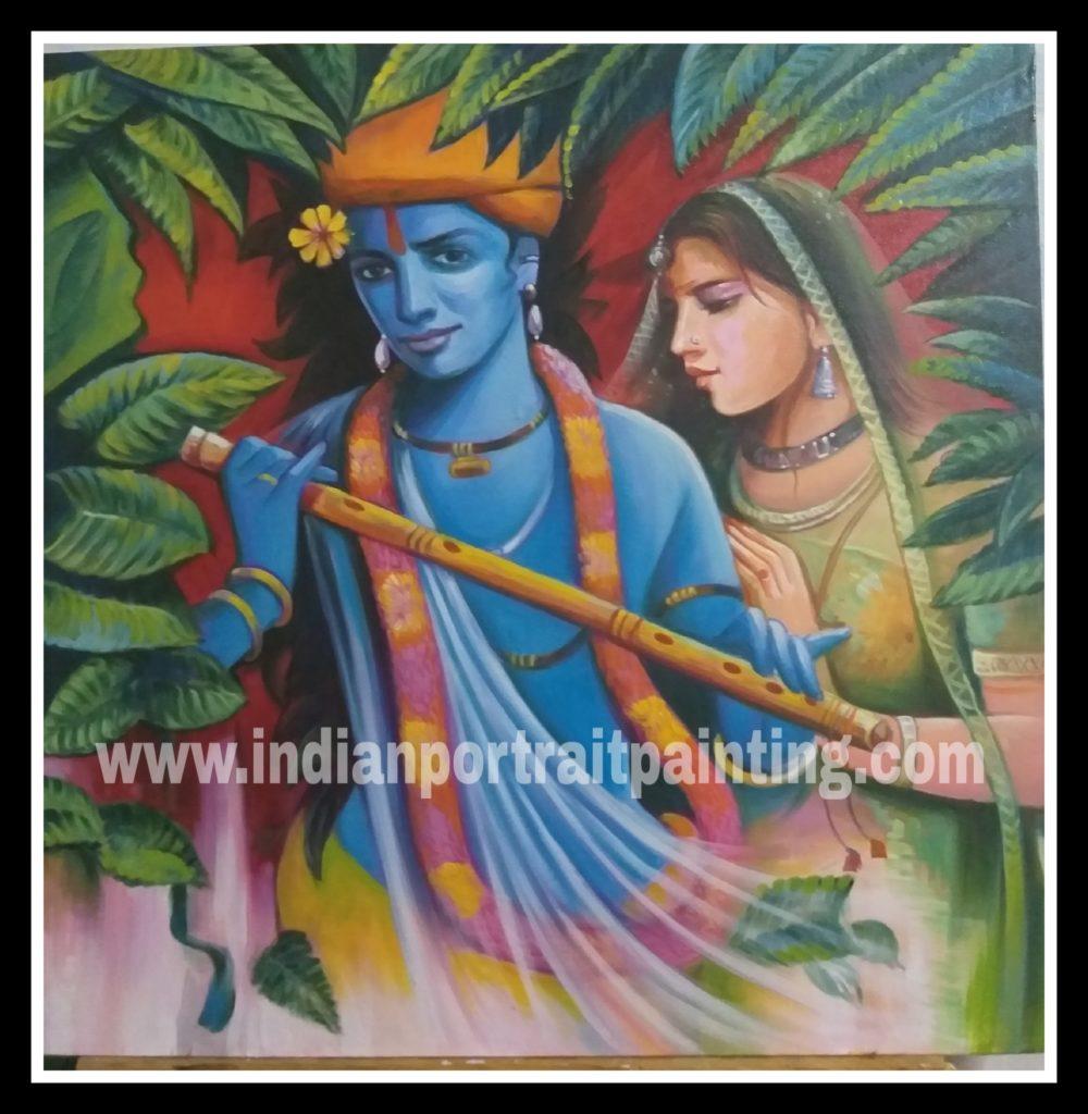 Oil canvas Radha kishan painting for sale   Custom Bollywood ...
