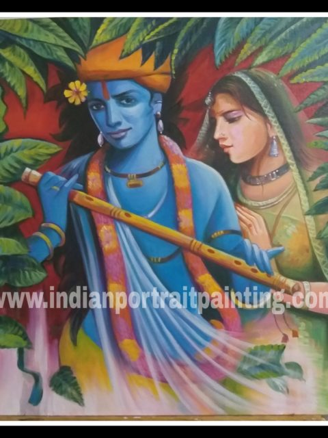 Oil canvas Radha kishan painting for sale