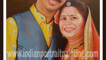 Oil portrait painting for parents