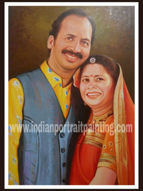 Oil portrait painting for parents