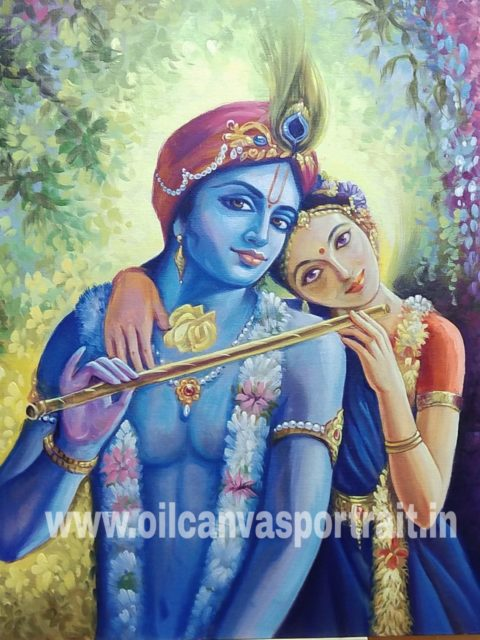 Original Radha krishna oil paintings online sale