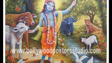 Original old hand painted oil paintings – hindu god krishna