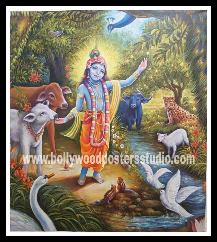 Original old hand painted oil paintings   hindu god krishna ...