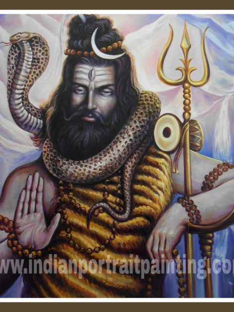 Paintings in oil paints lord shiva