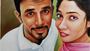 Real canvas portrait painting