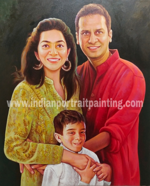 Real family portrait painting
