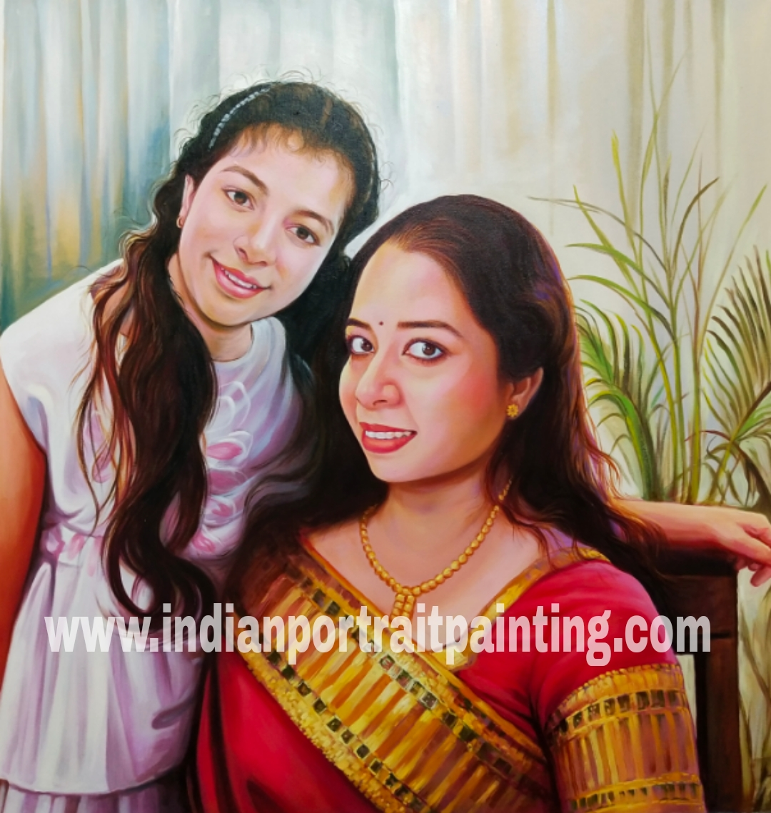 Real oil portrait painting